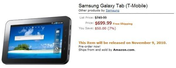 T-Mobile's Galaxy Tab available for preorder at Amazon, costs $699 unsubsidized