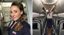 Flight attendant flips upside down to close the overhead bins with her feet - while wearing high heels