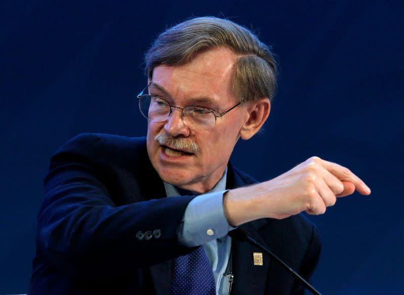 World Bank President Robert Zoellick attends a panel during a B20 meeting prior to the G20 summit in Los Cabos