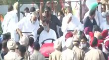 Rahul Gandhi drives tractor as part of Congress' 'Kheti Bachao Yatra' in Punjab