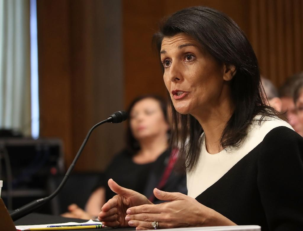 """US envoy to the UN Nikkie Haley in a statement said: """"When someone issues a false and defamatory report in the name of the UN, it is appropriate that the person resign"""" (AFP Photo/MARK WILSON)"""