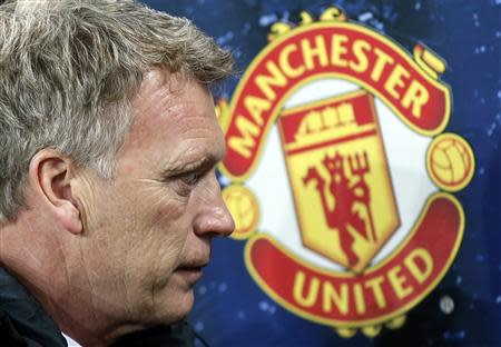 File photograph shows Manchester United's coach David Moyes pictured before the Champions League soccer match against Bayer Leverkusen in Leverkusen