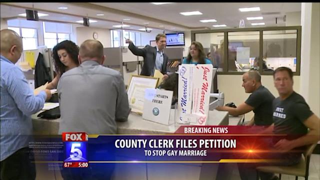 County Clerk Asks To Stop Same-Sex Marriages