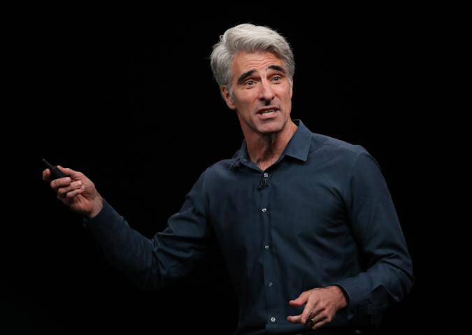 SAN JOSE, CALIFORNIA - JUNE 03:  Apple's senior vice president of Software Engineering Craig Federighi speaks during the keynote address during the 2019 Apple Worldwide Developer Conference (WWDC) at the San Jose Convention Center on June 03, 2019 in San Jose, California. The WWDC runs through June 7. (Photo by Justin Sullivan/Getty Images)