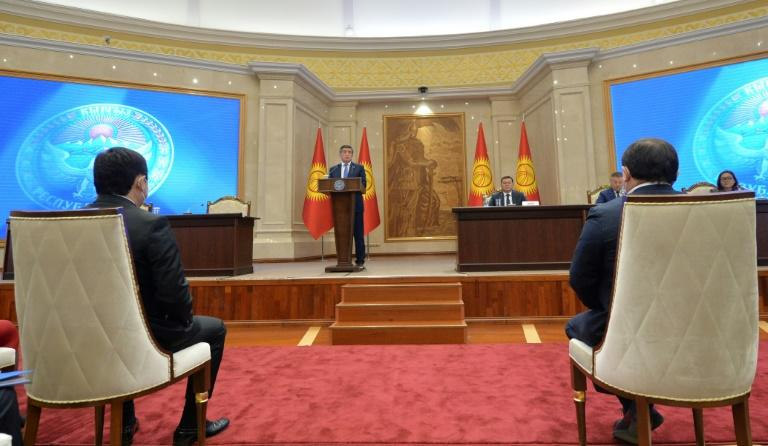 Kyrgyzstan's former President Sooronbay Jeenbekov addresses the Kyrgyz Parliament in Bishkek as part of efforts to end a political crisis over a disputed October vote
