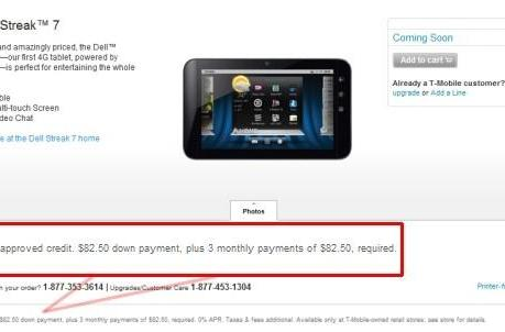 Estimated Dell Streak 7 price incorrect according to T-Mobile, honest to gosh MSRP coming soon