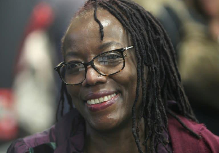 Happier days: Zimbabwean author Tsitsi Dangarembga, pictured at the Frankfurt Book Fair in October 2018