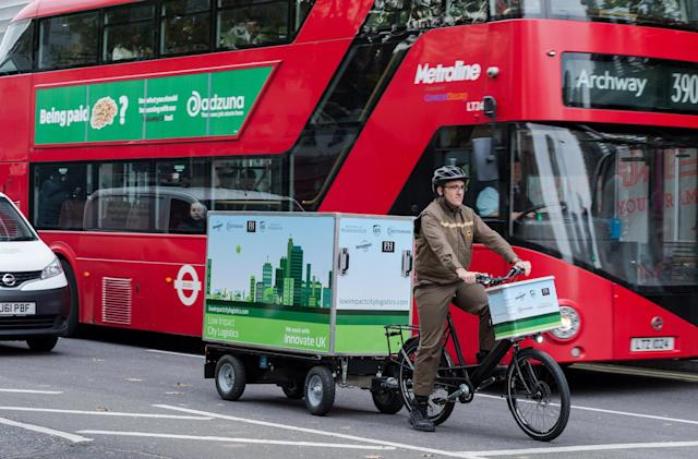 UPS is trialling electric bike trailers in London