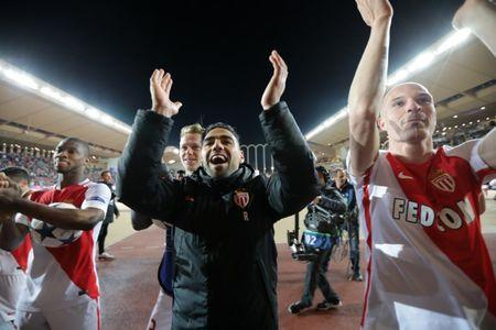 Monaco's Radamel Falcao celebrates after the match