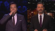 Jimmy Kimmel and Jimmy Fallon overcome by emotion remembering Kobe