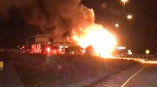 Firefighters Tackle Tanker Blaze on Utah Interstate