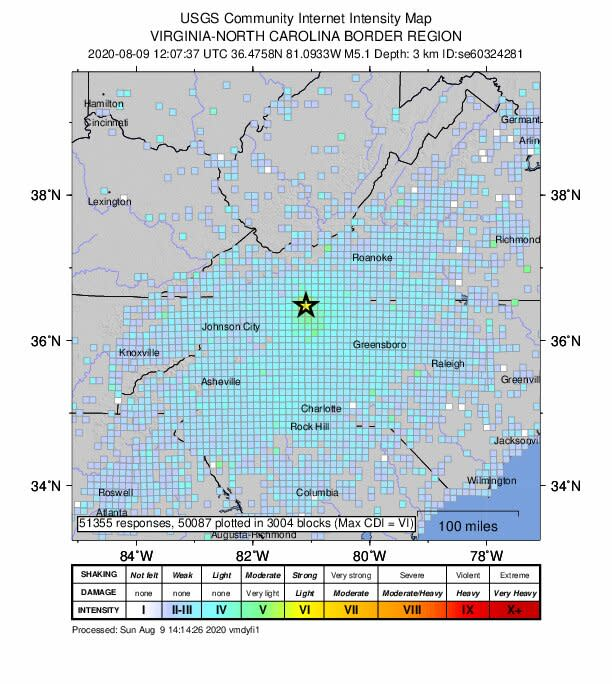5.1 Magnitude Earthquake Reported in North Carolina, With Effects Felt Across Multiple States