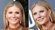 Gwyneth Paltrow frees grey roots and wears semi-sheer dress at Golden Globes