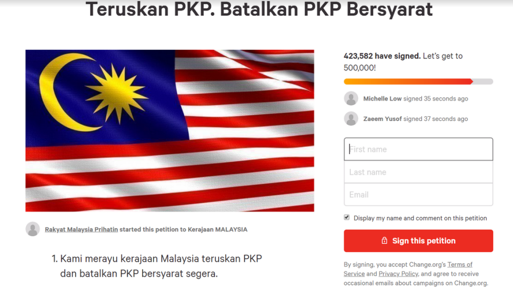 Over 420 000 Malaysians Sign Petition Objecting To Cmco Which Starts Tomorrow
