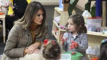 First lady Melania Trump gets appropriately cozy with military kids in Alaska