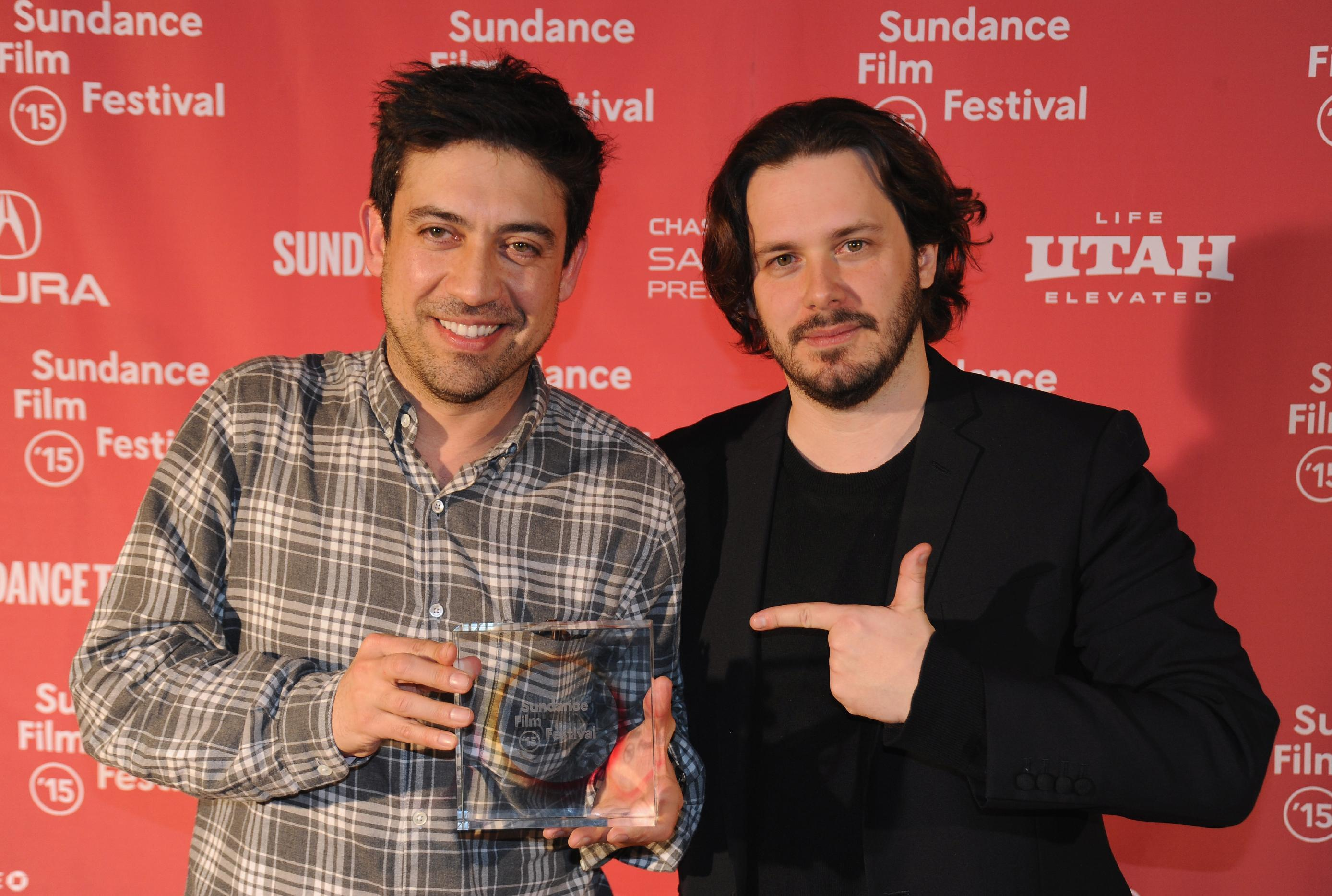 Alfonso Gomez-Rejon, director of 'Me and Earl and the Dying Girl' and juror Edgar Wright attend the Awards Night Ceremony of the 2015 Sundance Film Festival on January 31, 2015 in Park City, Utah (AFP Photo/Clayton Chase)