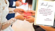 Bride's 'rude' gift card sparks hysterical 'worst gift' stories