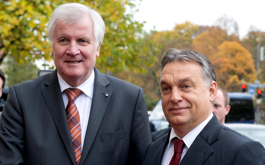 Bavarian State Premier Horst Seehofer (L) shakes hands with Hungary's Prime Minister Viktor Orban on November 6, 2014 in Munich, southern Germany (AFP Photo/Sven Hoppe)