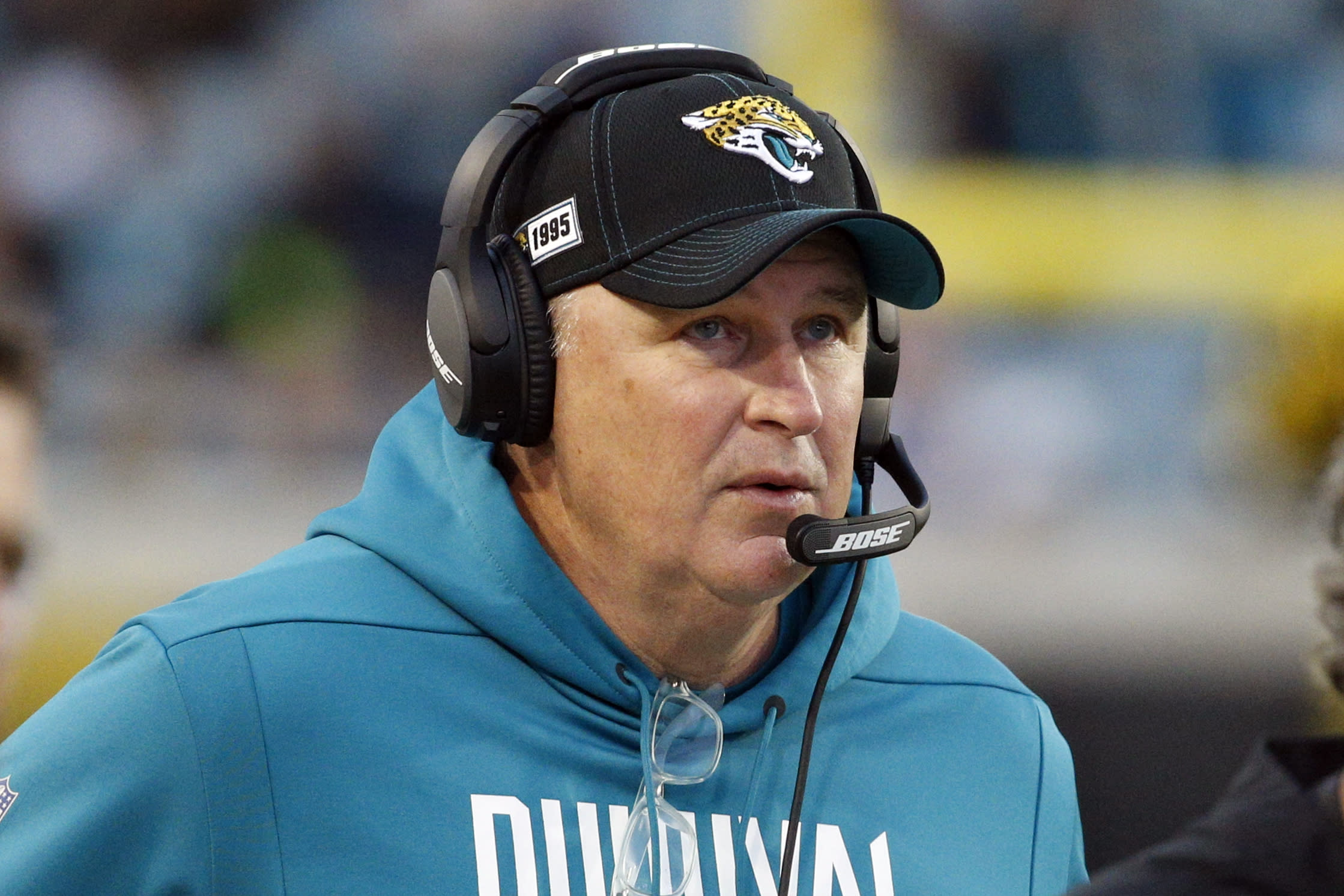 FILE - Jacksonville Jaguars head coach Doug Marrone watches his team against the Los Angeles Chargers during the first half of an NFL football game, Sunday, Dec. 8, 2019, in Jacksonville, Fla. The heat is on — and the games haven't even kicked off yet. That's life in the NFL for some coaches who enter the regular season knowing they need to guide their squads through what will be a most unusual regular season and at least keep them in playoff contention into December.(AP Photo/Stephen B. Morton, File)