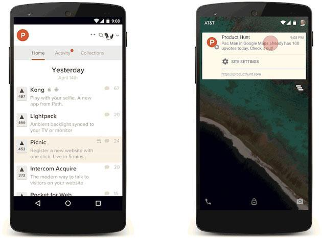 Chrome's push notifications reach your Android phone
