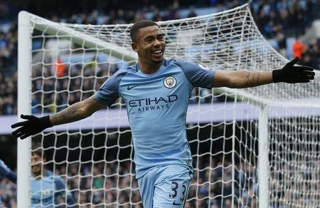 Manchester City's Gabriel Jesus celebrates scoring their first goal