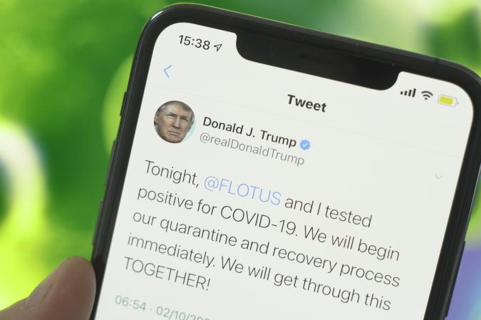 A tweet by US president Donald Trump shows the news of his annoucenment of him and his wife being infected with the coronavirus in this photo illustration in Warsaw, Poland on October 2, 2020. (Photo Illustration by Jaap Arriens/NurPhoto via Getty Images)