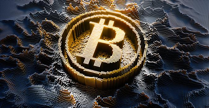 Bitcoin Symbol in a digital raster microstructure - 3d illustration