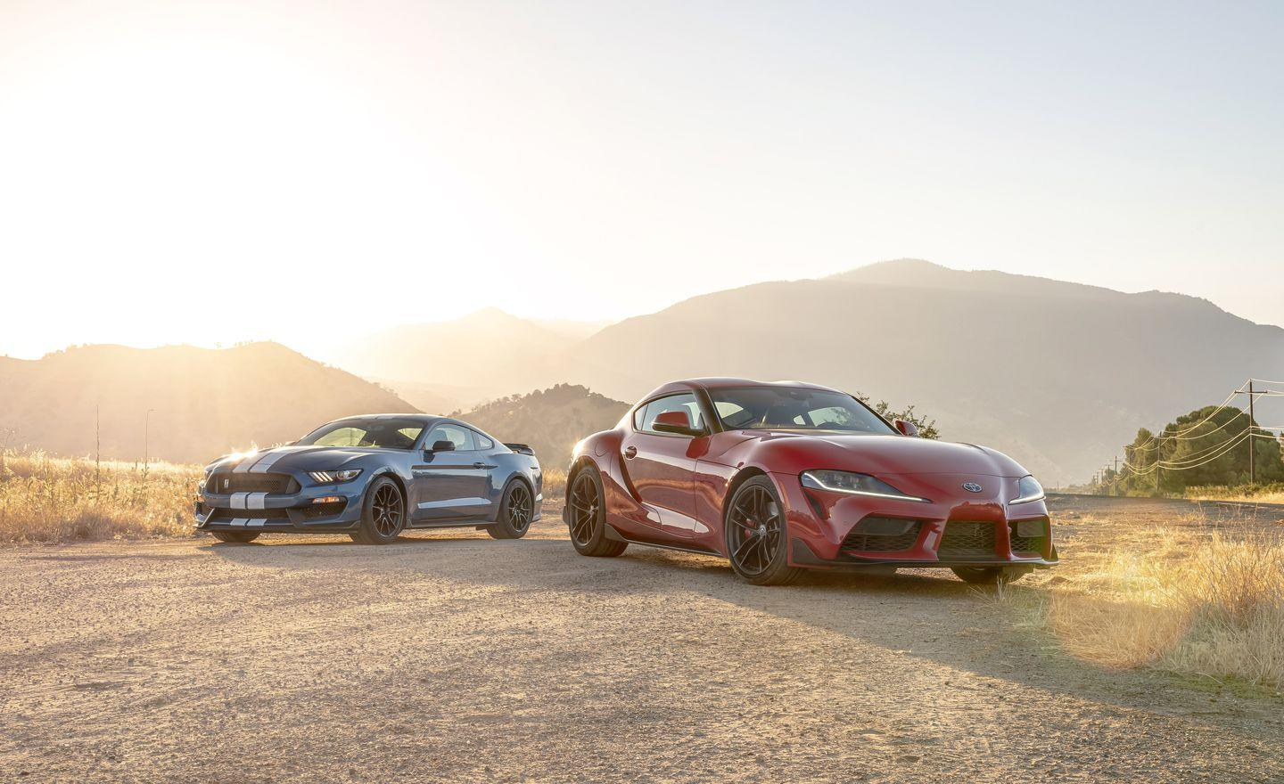 <p>The Ford Mustang Shelby GT-350 is all V-8 thunder and manual gear selection while the Supra boasts a sophisticated turbocharged inline-six and an automatic transmission with paddle shifters. </p>