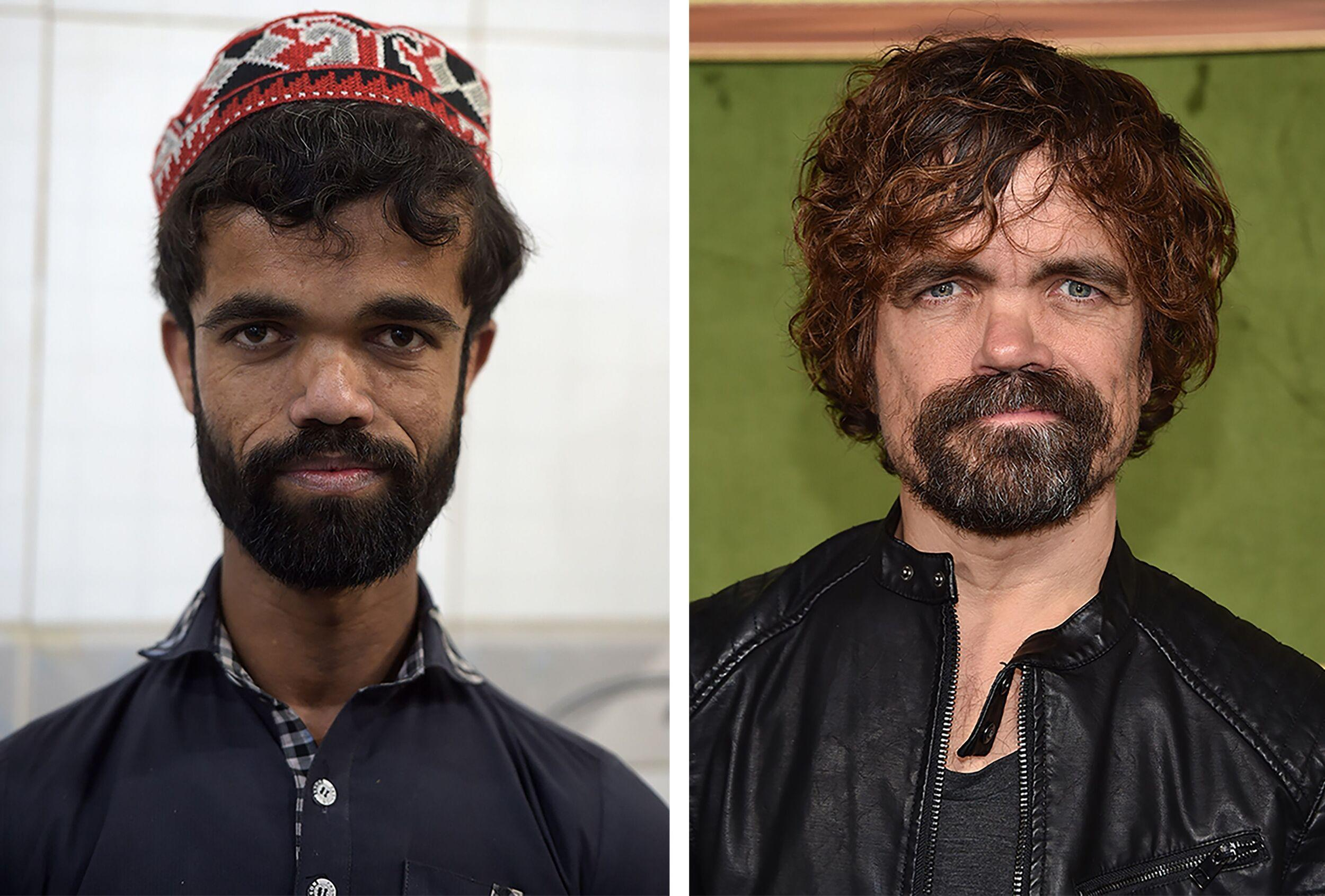 (COMBO) This photo combination created on March 14, 2019 shows (L) Pakistani waiter Rozi Khan posing for a photograph at Dilbar Hotel in Rawalpindi on February 22, (R) US actor Peter Dinklage at the HBO premiere of 'My Dinner With Herve' at the Paramount Studios in Los Angeles on October 4, 2018. - Rozi Khan had never heard of the Game of Thrones -- or its hugely popular character Tyrion Lannister -- until his striking resemblance to the dwarf anti-hero got heads turning at home. (Photo by Aamir QURESHI and Chris DELMAS / AFP) / To go with PAKISTAN-LIFESTYLE-TELEVISION-ENTERTAINMENT (Photo credit should read AAMIR QURESHI,CHRIS DELMAS/AFP/Getty Images)
