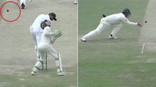 Incredible dismissal salvages punishing day for Aussies