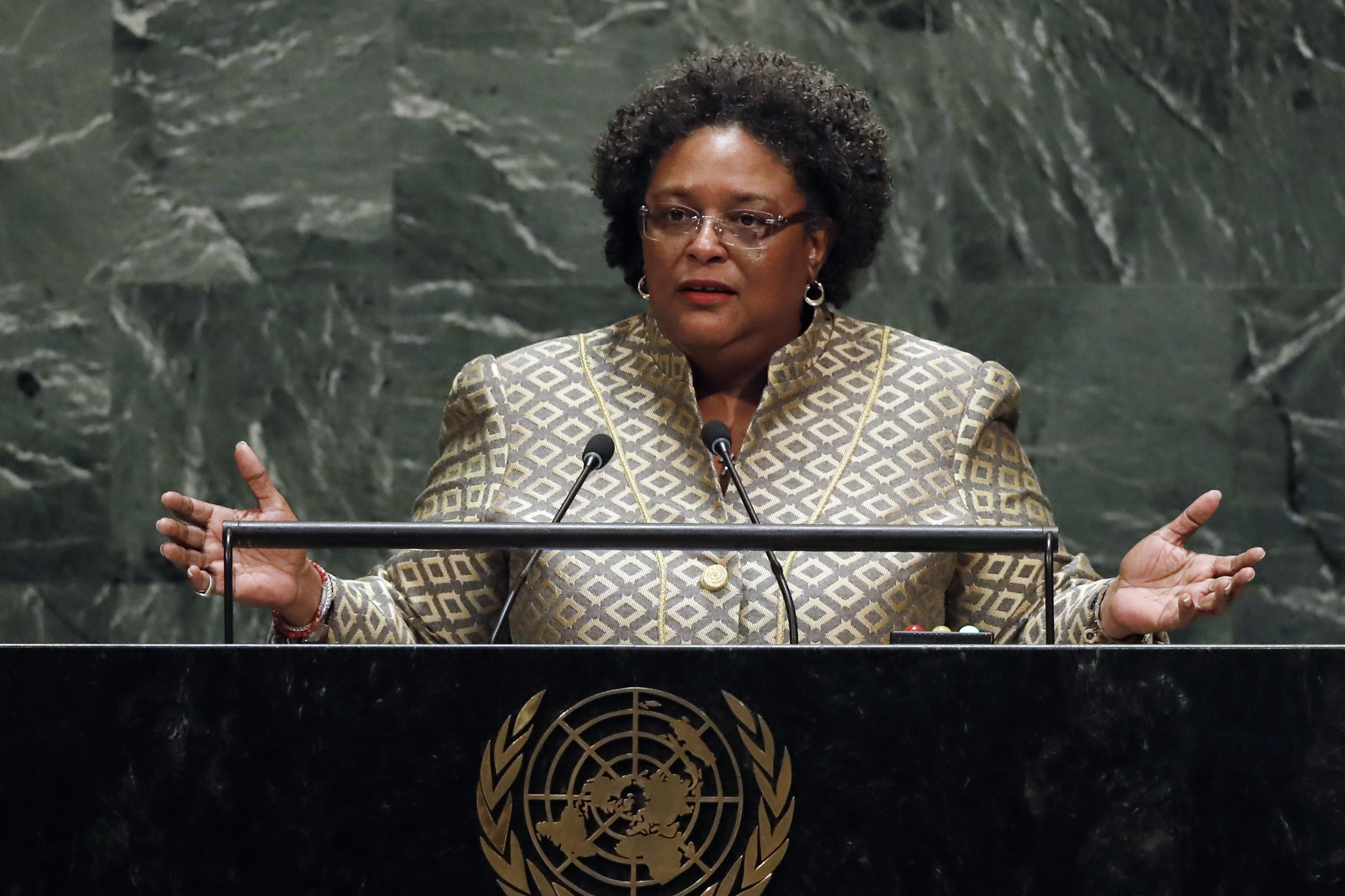 FILE - This Sept. 27, 2019, file photo shows Prime Minister Mia Amor Mottley, of Barbados, addressing the 74th session of the United Nations General Assembly. This year, in the pandemic era, the spectacle of the U.N. General Assembly is still happening at the United Nations, but remotely by video. (AP Photo/Richard Drew, File)