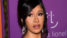 Cardi B Teams Her Invisible Bikini With Pink Hair & 'Promiscuous' Fashion Nova Sandals