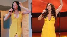 'Like fine wine': Katharine McPhee shows off in plunging yellow gown with an 'American Idol' throwback