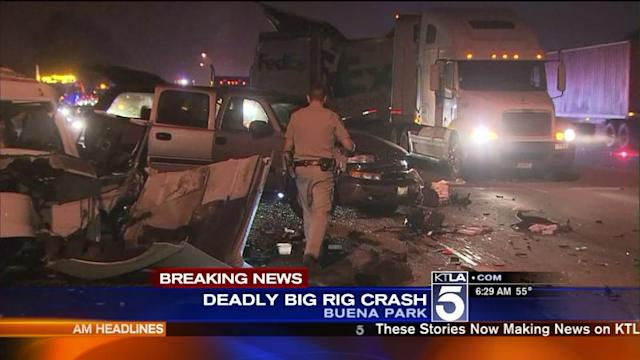 1 Dead After 2 Big Rigs and 2 SUVS Crash on 91 Freeway