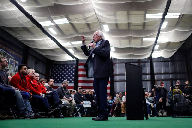 Democratic U.S. presidential candidate Senator Bernie Sanders speaks at a breakfast campaign stop in Manchester