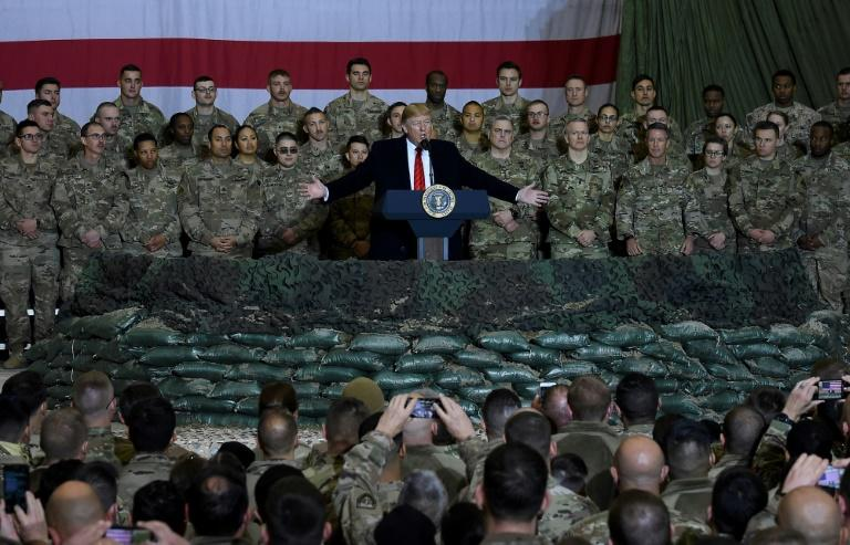 President Donald Trump speaks to US troops during a surprise Thanksgiving 2019 visit to Bagram air base in Afghanistan (AFP Photo/Olivier Douliery)