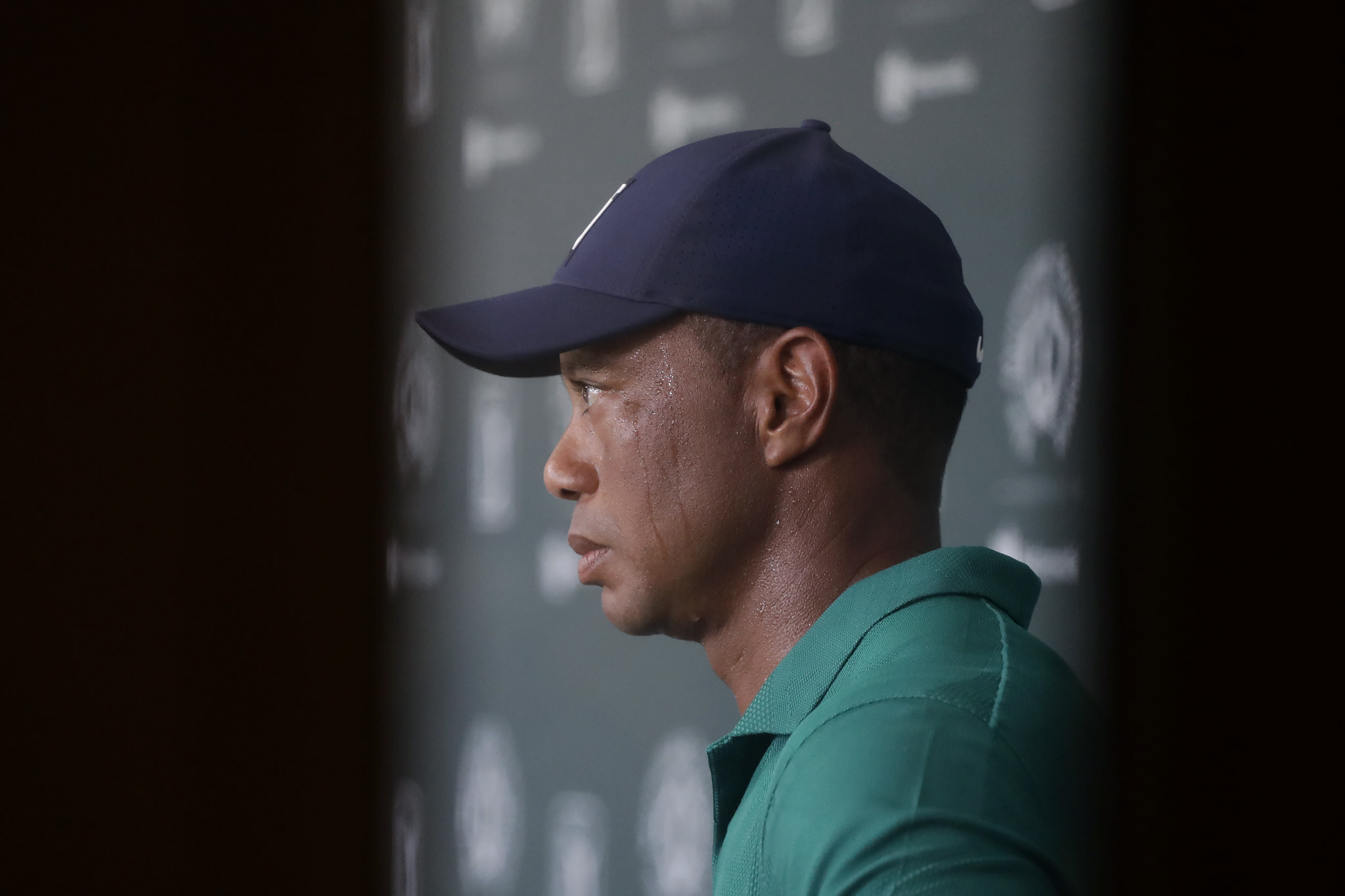 Tiger Woods is interviewed during the third round of the Memorial golf tournament, Saturday, July 18, 2020, in Dublin, Ohio. (AP Photo/Darron Cummings)