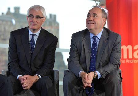 Alistair Darling (L), the leader of the campaign to keep Scotland part of the United Kingdom, appears with Scotland's First Minister Alex Salmond on the BBC's Andrew Marr Show in Edinburgh, this photograph received via the BBC in London September 14, 2014. REUTERS/Jeff Overs/BBC/Handout via Reuters