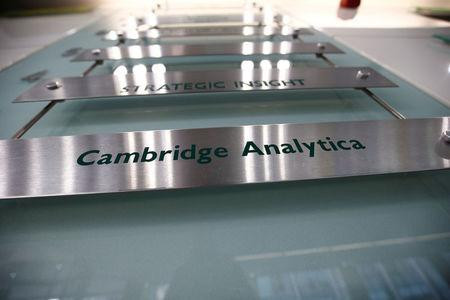 The nameplate of political consultancy, Cambridge Analytica, is seen in central London
