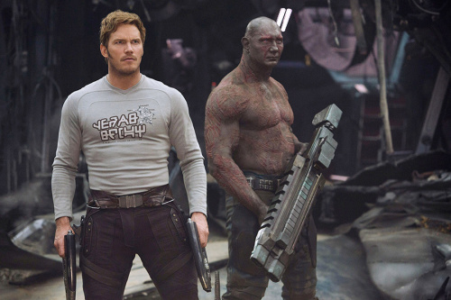 Chris Pratt as Peter Quill rocking his rock star graphic T-shirt