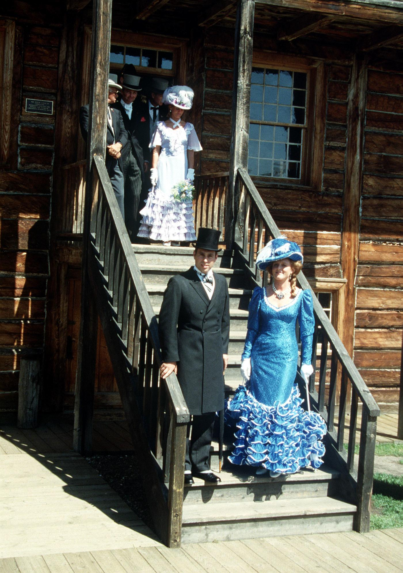 The Duke and Duchess of York dressed in period costumes at the replica Klondike village in Port Edmonton, Alberta during their first official tour together in Canada before setting off on a two-week canoeing holiday in the Wild North West Territories