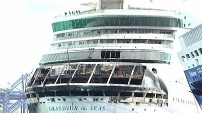 Raw: Ship Fire Causes Cruise Cancellation