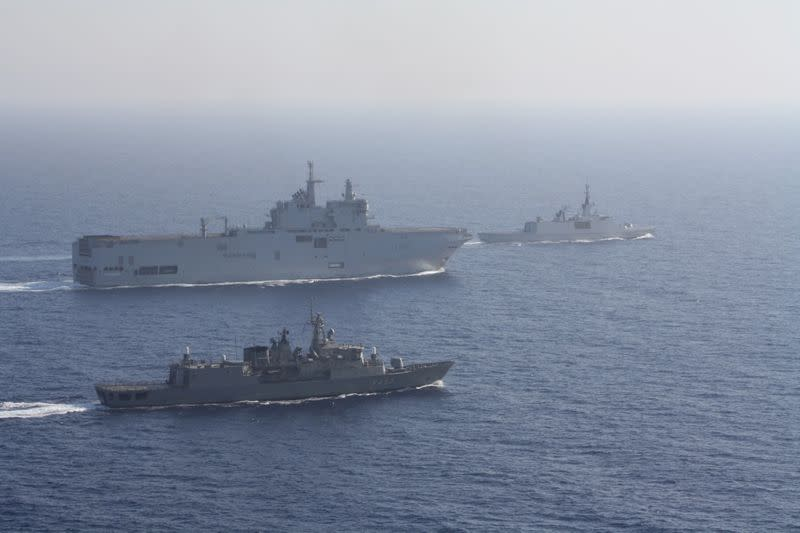 FILE PHOTO: Greek and French vessels sail in formation during a joint military exercise in Mediterranean sea