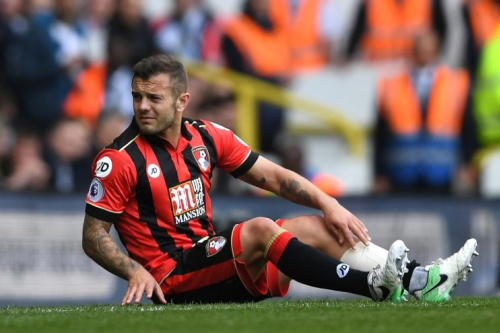 Jack Wilshere of AFC Bournemouth goes down injured during the Premier League match between Tottenham Hotspur and AFC Bournemouth at White Hart Lane on April 15, 2017 in London, England. (Photo by Shaun Botterill/Getty Images)