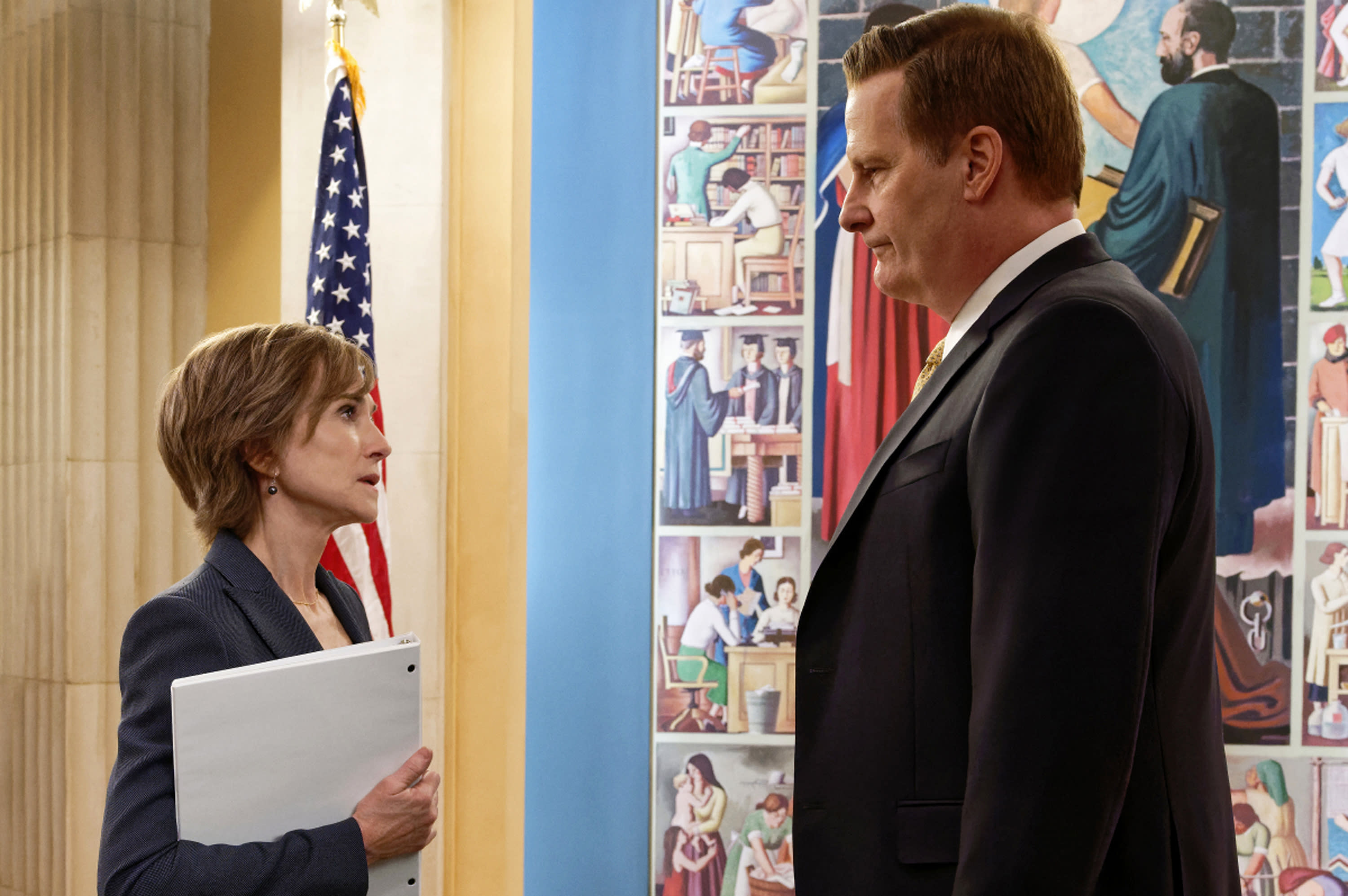 """This image provided by Showtime shows Holly Hunter, left, as Sally Yates and Jeff Daniels as James Comey in a scene from """"The Comey Rule."""" Hunter plays former federal prosecutor Sally Yates in Showtime's two-part drama, debuting Sunday and Monday, Sept. 27 and 28. (Ben Mark Holzberg/CBS Television Studios/Showtime via AP)"""