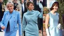Why French First Lady Brigitte Macron Wore Powder Blue, Just Like Melania Trump