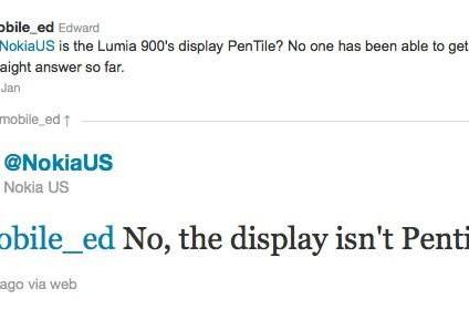 Nokia confirms Lumia 900 doesn't have Pentile display