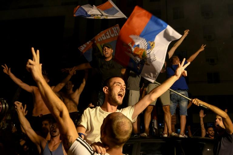 Opposition supporters celebrated on the streets in Podgorica after the election