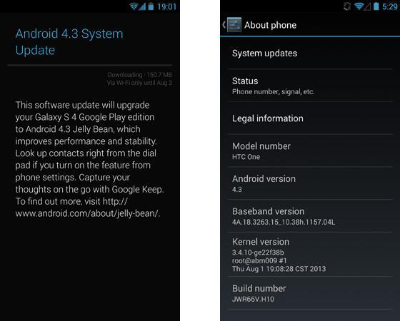 Google Play Edition smartphones start receiving Android 4.3 (updated)