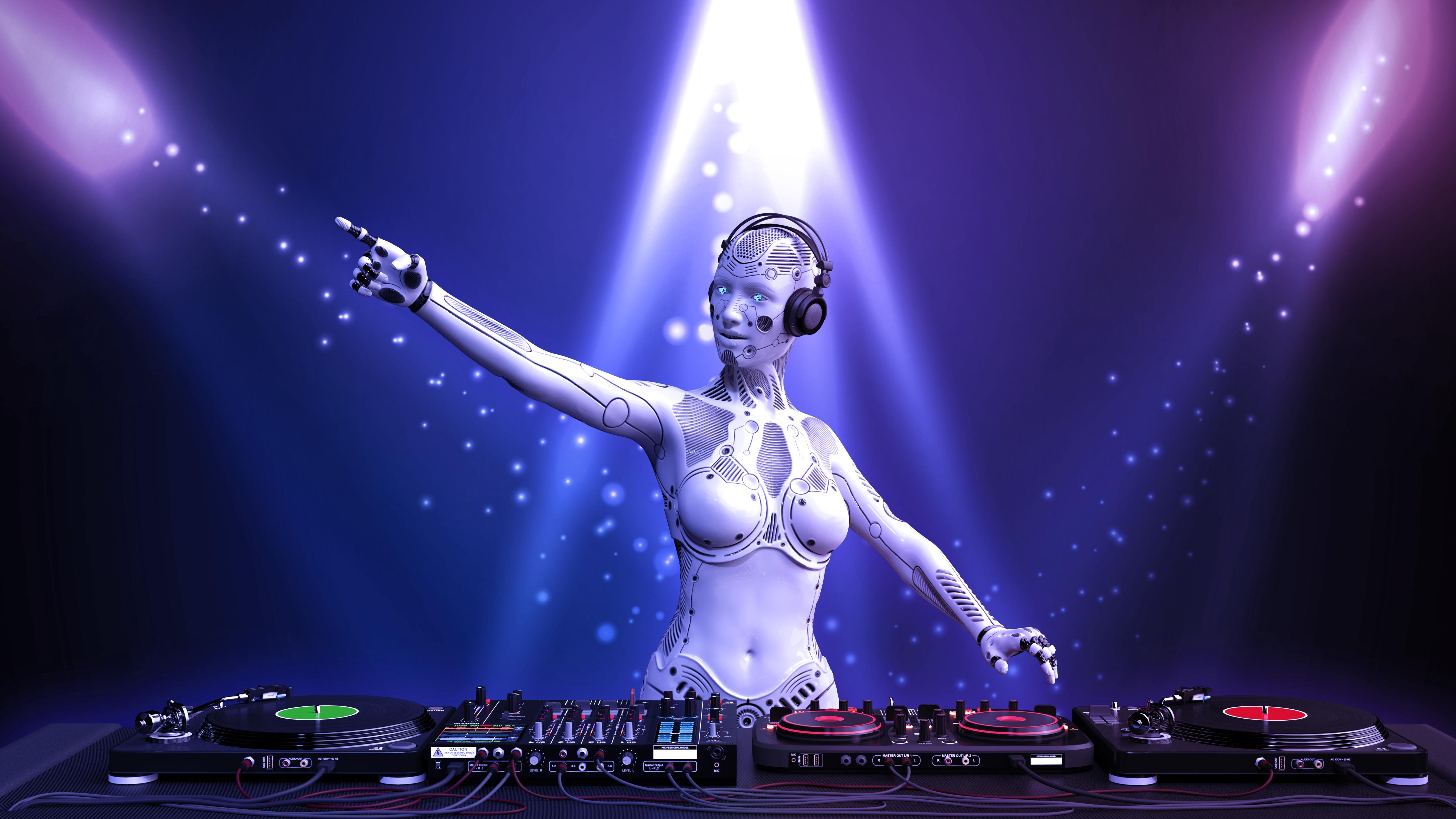DJ android, disc jockey robot pointing and playing music on turntables, cyborg on stage with deejay audio equipment, 3D rendering